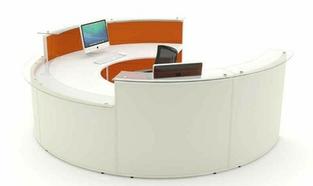Acoustic Reception Desk DDA Curved Glass Shelves
